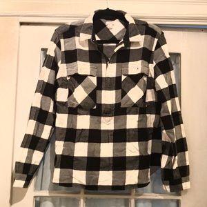 J.Crew Black White Check Flannel Pullover Jacket